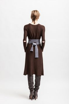 BEGONIA // Knitted cashmere silk blend dress - external seams - raw hems - midi lenght attached belt - slim cut - a-silhouette - fall autumn on Etsy, $208.57
