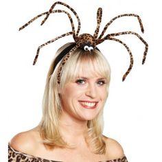 Serre tête araignée léopard géante chic et glamour en peluche douce pour adulte femme et adolescente.