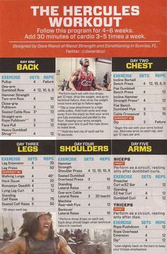 Bodybuilding: The Hercules Workout (from MF, Sept. Fitness Workouts, Weight Training Workouts, Gym Workout Tips, Power Lifting Workouts, Workout Splits, Yoga Workouts, Workout Outfits, Activ Fitness, Physical Fitness