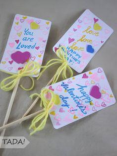 blah: unused chopsticks/TADA!: DIY Valentine cards