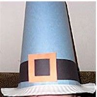 Thanksgiving Pilgrim Hat Craft...USE TAPE TO ATTACH TOP OF HAT TO PLATE!!!
