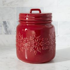 Snowflake Red Cookie Jar | Crate and Barrel