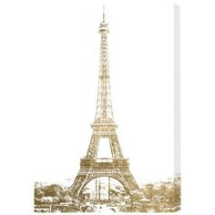"""House of Hampton Gold Eiffel Photographic Print on Wrapped Canvas Size: 15"""" H x 10"""" W x 1.5"""" D"""