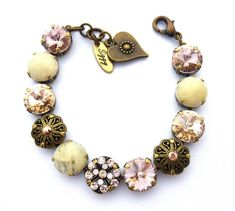 Victorian Style Swarovski Crystal Bracelet 12mm by SiggyJewelry