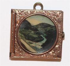 Antique 9k Gold Scottish Souvenir Book Pendant Bracelet Charm Opens to Photos #Unbranded #Pendant