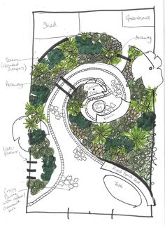 Dense with this very fluid spiral garden provides in London, Essex and the south-east. Spiral Garden, Sacred Garden, Terrace Garden, Garden Paths, White Clematis, Crazy Paving, Cottage Garden Design, London Garden, Garden Drawing