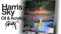 Scott Naismith: Oil on Acrylic Abstract Seascape Painting: Harris Sky