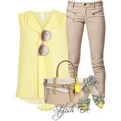 Yellow blouse with khaki pants