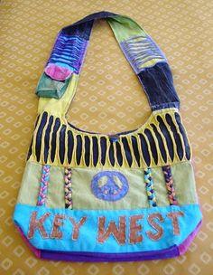 KEY WEST FLORIDA Hippie Hobo Sling Cross Body Bag, Shoulder Purse