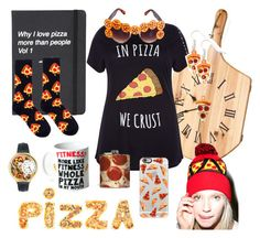 Pizza by mzilla on Polyvore featuring polyvore, fashion, style, Whimsical Watches, Sourpuss, Casetify, Dot & Bo, Topshop, women's clothing, women's fashion, women, female, woman, misses and juniors