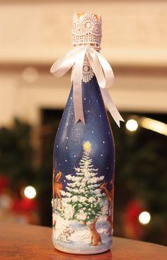 Бутылка с новогодним шампанским -олени