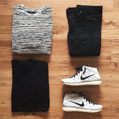 Outfit grid - Sweater & Nike hi-tops