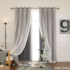 4 Piece Sheer Blackout Grommet Top Curtain Panels Tulle Lace White Black Out