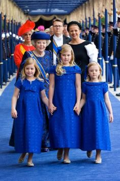 Dutch Princess Beatrix (back, L-R), Princess Laurentien, Prince Constantijn and Princess Mabel leaving with Crown Princess Amalia (front C), Princess Alexia (front L) and Princess Ariane