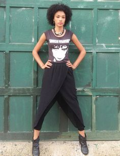 Black Parachute Pants with Sheer Overlay