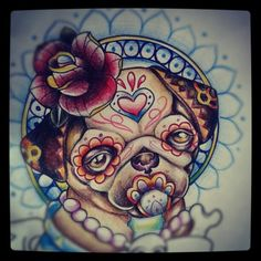 OMG!!  It's a pug AND a calaca!  I love it!  #calaca #mexico #pug#tattoo (Tomada con Instagram)