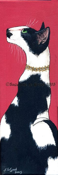 Cherry Pie. Acrylic on canvas of an Oriental Bi-colour cat with applied gold leaf and crystals.