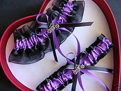 Hot Harley Motorcycle Wedding Garter Set Purple Black