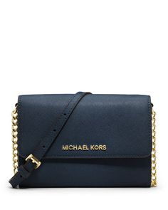 Jet+Set+Travel+Crossbody+Phone+Case/Wallet,+Navy+by+MICHAEL+Michael+Kors+at+Neiman+Marcus.