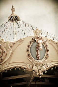 Giraffe Carousel Horse Ride - Carnival Art - Whimsical Baby Nursery - Merry Go Round - Wall Art Decor.. or use the real thing