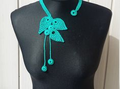 Exclusive Lace Crochet Necklace Teal Aqua  Color Satin by knittee
