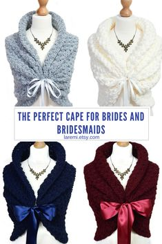Don't worry about the weather with this winter wedding cape. Elegant and unique, it can be the perfect gift for your bridesmaids. Click through to see real brides and bridesmaids wearing these handmade capelets.  #weddingideas  #bridesmaids  #weddingcapes  #weddinggifts #fallwedding # #brides