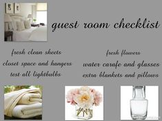 checklist for house guests