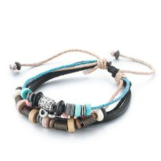 Pugster Multi-Strand Black Leather Many Metal Wood Beads On Jute Rope Bracelet Pugster. $8.79. Color: Colorful. Weight (gram): 7. Metal: Metal, leather. Size (mm): 200*7.82*11.26