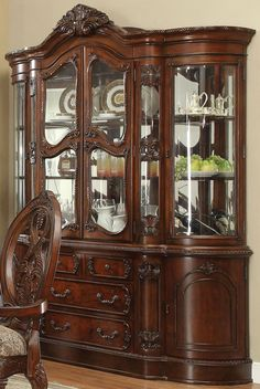 Expand your dining room or kitchen storage with the Acme Furniture Rovledo China Cabinet , a handsome classical unit that abounds with storage. China Cabinet Redo, Crockery Cabinet, Cabinet Decor, Cabinet Design, China Cabinets, Acme Furniture, City Furniture, Home Decor Furniture, Luxury Furniture