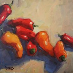 "Daily Paintworks - ""Big Pile of Peppers"" by Cathleen Rehfeld"