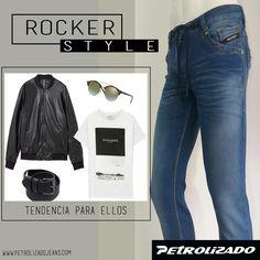 El rocker style, llega pisando fuerte entre las propuestas de moda hombre esta temporada. El cuero en chaquetas, las camisetas básicas, las prendas cómodas y las botas se convierten en los ingredientes principales para ellos. ¿Te gusta la inspiración rockera en la moda? #PetrolizadoJeans