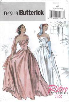 Formal Dress Patterns, Wedding Dress Patterns, Vintage Dress Patterns, Dress Sewing Patterns, Vintage Evening Gowns, Vintage Gowns, Vintage Style Dresses, Evening Dresses, Ball Dresses