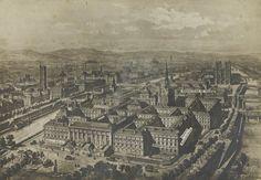 Localisation du service d'identification. Vue à vol d'oiseau du Palais de Justice et de la Préfecture de Police à Paris (1893)