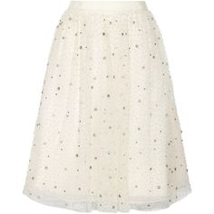 Alice + Olivia Catrina embellished tulle and organza skirt (16,470 MXN) ❤ liked on Polyvore featuring skirts, bottoms, white, ivory, winter white skirt, beaded skirt, white skirt, ivory tulle skirt and organza skirt