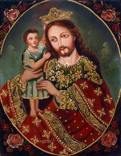ST. JOSEPH & JESUS - Sacred Art original Oil Painting-Peru