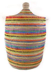 Rainbow Laundry Hamper Medium Stripe ~ Senegal Fair Trade