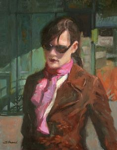 Girl with Sunglasses and Scarf - Sally Strand