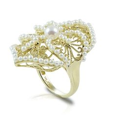 14k yellow gold and features one 5-5.5mm Akoya pearls as well as precious seed pearls accented by diamonds.