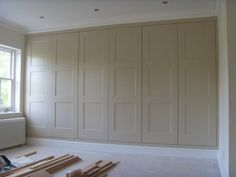 Love how these look like old fashioned paneled walls --- Fitted wardrobes Kingston closet doors Closet Bedroom, Bedroom Storage, Home Bedroom, Master Closet, Fitted Bedroom Wardrobes, Fitted Bedrooms, Wall Of Closets, Fitted Bedroom Furniture, Hallway Closet