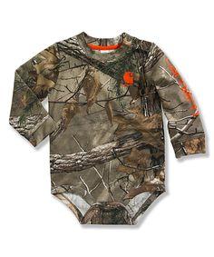 Look what I found on #zulily! Carhartt Dark Brown Woodland Camo Bodysuit - Infant by Carhartt #zulilyfinds