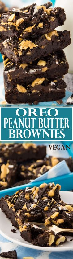 These vegan Oreo peanut butter brownies are super chocolatey, fudgy, and incredibly delicious! One of my favorite vegan desserts or vegan recipes in general! SO good!