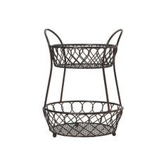 Amazon.com: Gourmet Basics by Mikasa Loop And Lattice 2-Tier Metal Basket, Antique Black: Kitchen & Dining