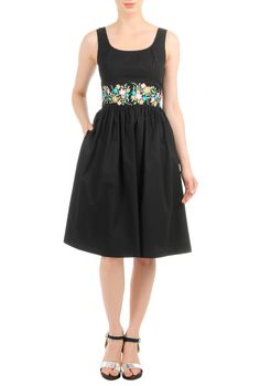 Floral embellished empire waist poplin dress. Pretty floral embellishment wraps the banded empire waist of our retro poplin sundress styled with a ruched pleat skirt for full flare - See more at: http://spenditonthis.com/listing-40672-floral-embellished-empire-waist-poplin-dress.html#sthash.VM906F33.dpuf