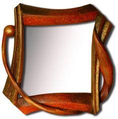 Zrcadlo Tango 2012,  š: 40 x 40 cm, dřevo lipové, namořené, zlacené, olejové barvy, vosková patina. Možnost vyrobit variantu ve tvarech i barvách.