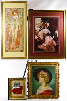 Lot 617: Framed Print and Textile Assortment; Four items including a textile image of a female with a black hat, framed textile flower with a eagle with shield gold frame, Art Nouveau style print of a female and print Victorian dining scene