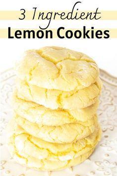 Cake Box Cookies, Lemon Cookies Easy, Lemon Cake Mix Cookies, Cake Mix Desserts, Cake Mix Cookie Recipes, Lemon Cake Mixes, Yummy Cookies, Lemon Sugar Cookies, Easy Lemon Cake