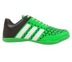 Chuteira Futsal Adidas Ace 15.3 Verde e Preto - Cabedal confeccionado em material sintético. Conta com fechamento em cadarço e etiqueta interna. Traz o logotipo da marca na língua, parte traseira e solado, nas laterais as inconfundíveis listra...