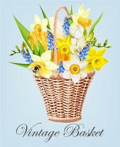 Vintage basket vector material 06