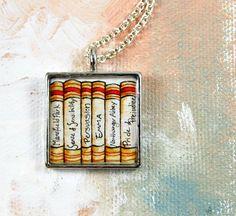 Jane Austen Book Necklace -- Illustration Jewelry, Literature,  Pride and Prejudice, Persuasion, Emma via Etsy