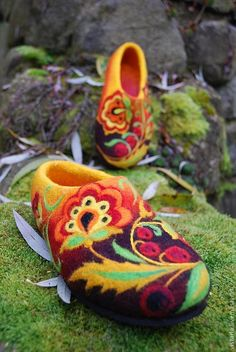 Image result for decorative scandinavian slippers needle felted